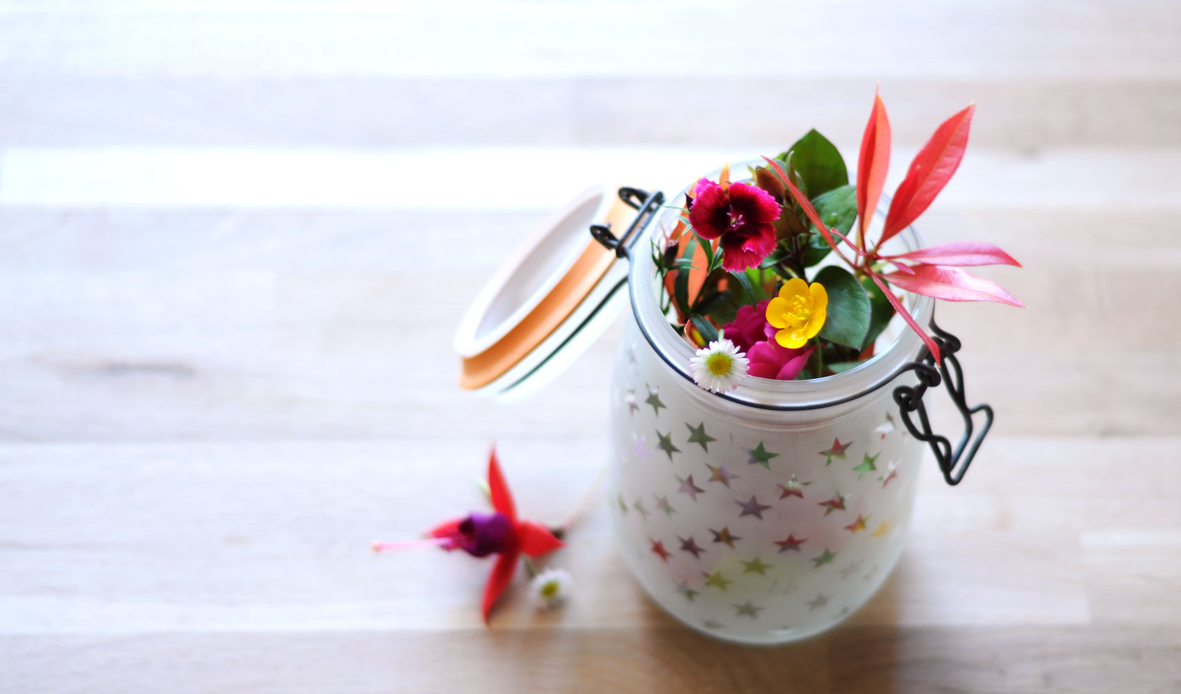 vase étoile et fleurs